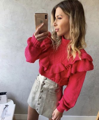 Blusa tricot babado cores