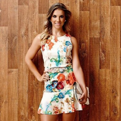 Vestido Floral com cinto - Artsy