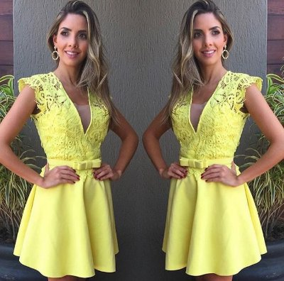 Vestido Amarelo com Renda - Cloude