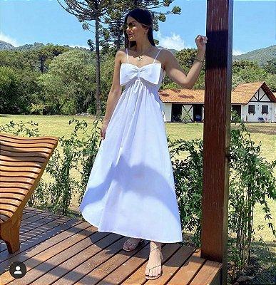 Vestido midi off white laço - carol dias