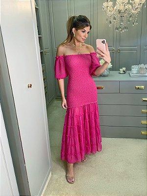 Vestido midi pink ariane - cloude