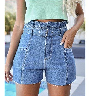 Short jeans com cinto - alcance