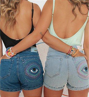 Short jeans olho grego - alcance
