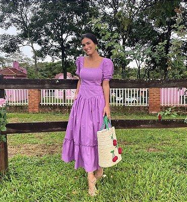 Vestido midi roxo - aquarella