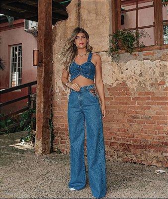 Calça jeans escura corrente - alcance