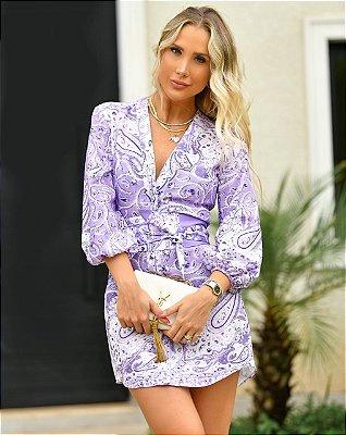 Vestido estampado lilas - cloude