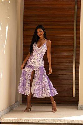 Vestido midi estampado lilas - cloude