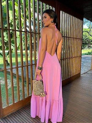 Vestido longo rosa - carol dias
