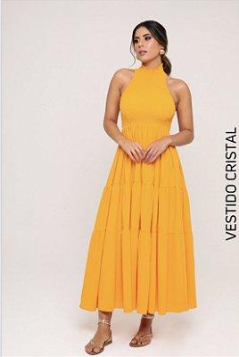 Vestido midi amarelo cristal - carol dias