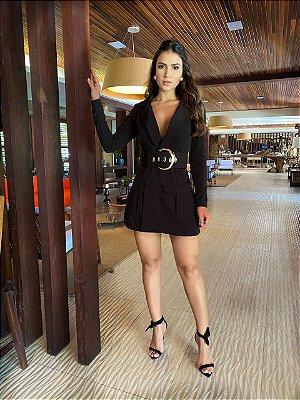 Vestido preto com cinto dori - carol dias