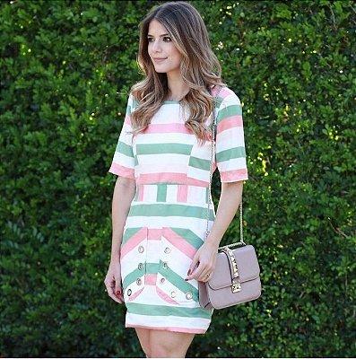 Vestido Tricolor Suede - Ana Hova