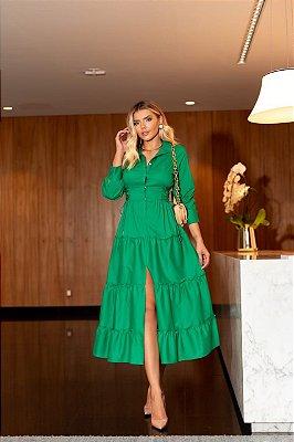 Vestido midi verde- cloude