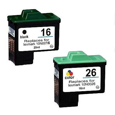 Kit Cartucho Lexmark 16/17 Preto + 26/27 Colorido Compativel p/ Z23 Z25 X1100