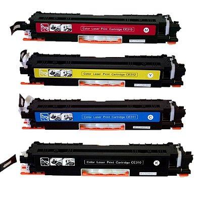 Kit 4 Toners Hp CP1025 M175 sendo 1 de cada Cor Compativeis CE310 CE311 CE312 CE313