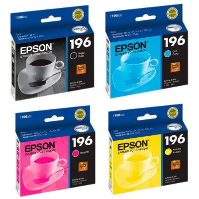 Kit 4 Cartuchos Epson 196 Originais XP401 XP2512