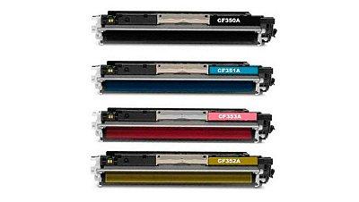 Kit 4 Toners Hp 130A M176 M177 Compativeis 1 de Cada Cor CF350 CF351 CF352 CF353