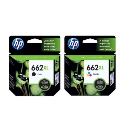 Kit Cartucho Hp 662XL Preto + 662XL Color 2515 3515 Originais