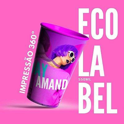 50 Copos EcoLabel 550 ml Biodegradável Personalizados 360°
