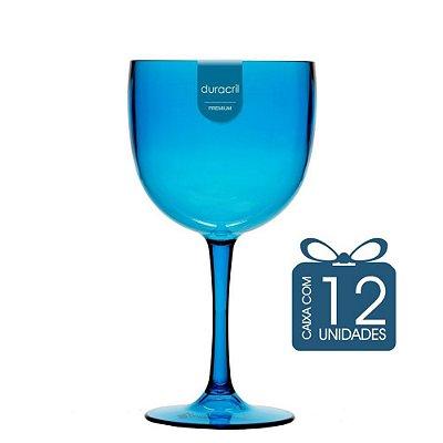 12 Taças de Gin 580 Ml Azul claro translúcida