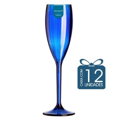 12 Taças Champagne 160 ml Azul Escura Translúcida
