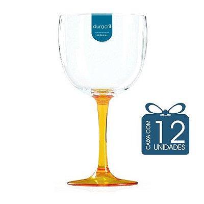12 Taças de Gin Bicolor 580 Ml Amarela Translúcida