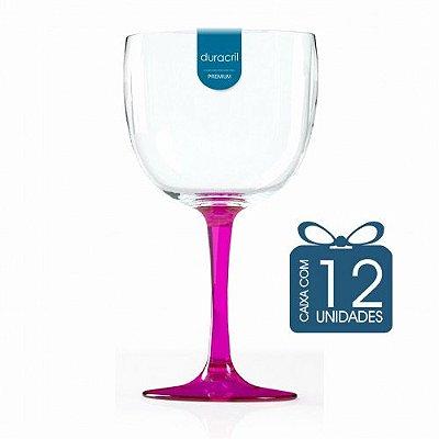 12 Taças de Gin Bicolor 580 Ml Rosa Translúcida
