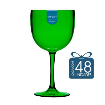48 Taças de Gin 580 Ml Verde Translúcido