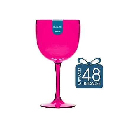 48 Taças de Gin 450 Ml Rosa Translúcido