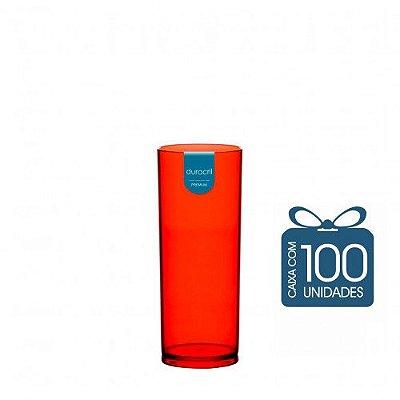 100 Copos Long Drink 330 ml Vermelho Translúcido