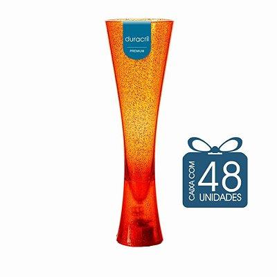 48 Taças Paris 180 ml Laranja Translúcida com Glitter