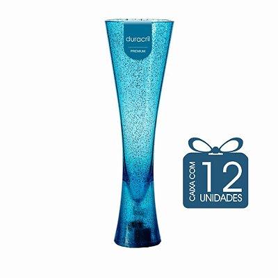 12 Taças Paris 180 ml Azul Translúcida com Glitter