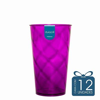 12 Copos Twister 500 ml Roxo translúcido