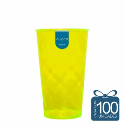 100 Copos Twister 500 ml Amarelo Neon