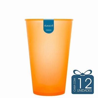 12 Copos Ecológico Biodegradável 550 ml Laranja neon