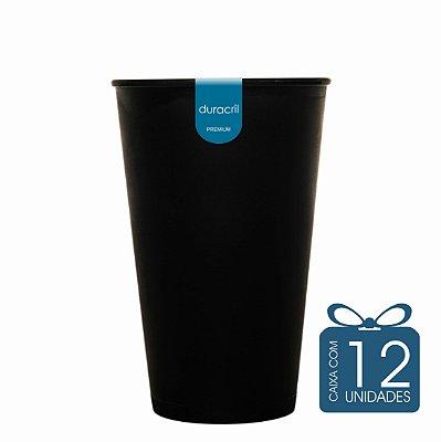 12 Copos Ecológico Biodegradável 550 ml Preto