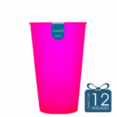 12 Copos Ecológico Biodegradável 550 ml Rosa neon