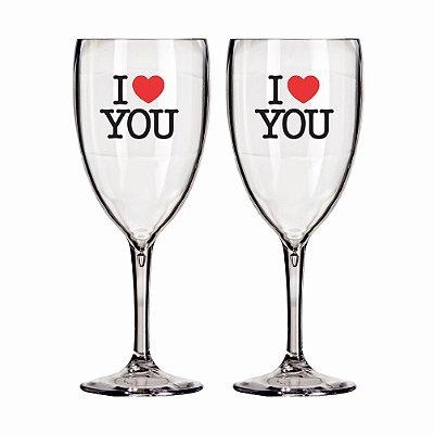 02 Taças Victória 400 Ml Personalizadas 'I Love You'