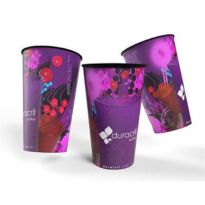 100 Copos EcoLabel 550 ml Biodegradável Personalizados 360°