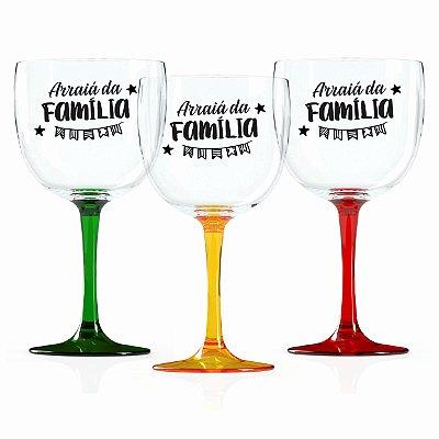 Taças de Gin Bicolor 580 Ml Personalizadas 'Arraiá da Família'