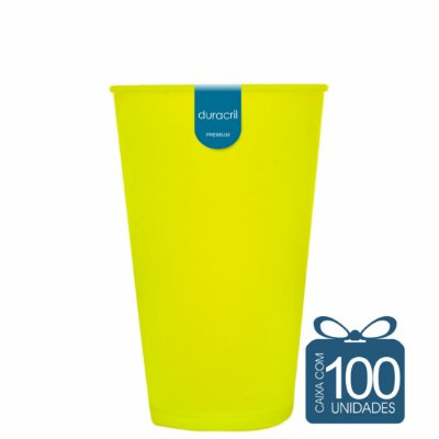 100 Copos Ecológico Biodegradável 550 ml Amarelo Neon