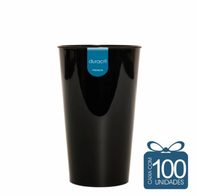 100 Copos Twister 500 ml Preto