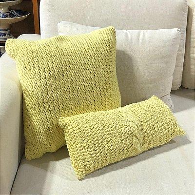 Almofada tricô amarelo