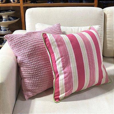 Almofada listras rosa e verde