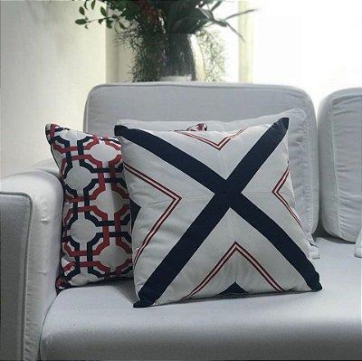 Almofada sarja branco marinho e vermelho x