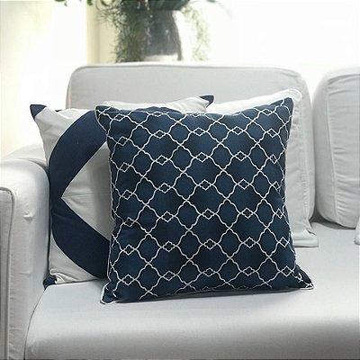 Almofada sarja geométrica azul e branco