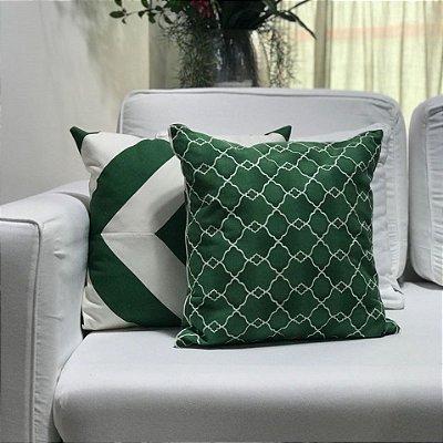 Almofada sarja geométrica verde e branco