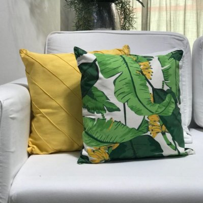 Almofada sarja folha e bananeira
