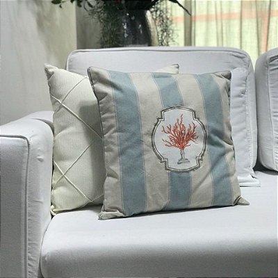 Almofada algodão listrado azul claro e coral