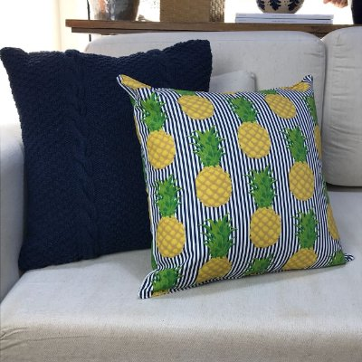 Almofada abacaxi listra azul