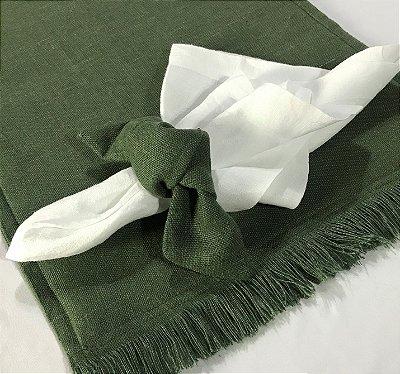 Jogo americano linho verde com franja c/ porta guardanapo